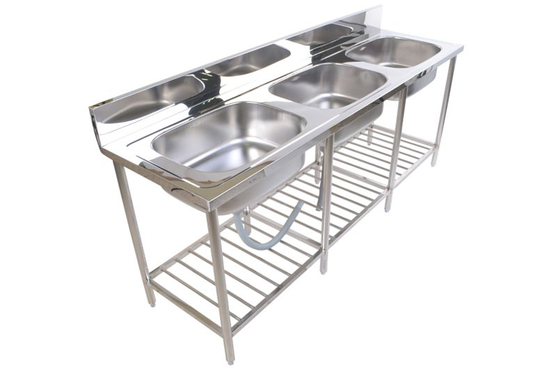 Stainless Steel Commercial Restaurant Kitchen Sink Stand 3 Bowl ST 811