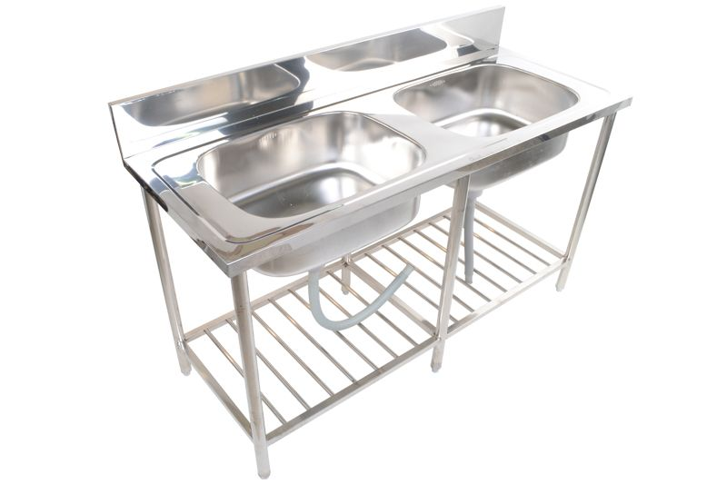 Stainless steel Commercial Restaurant kitchen sink stand 2-bowl ST-810