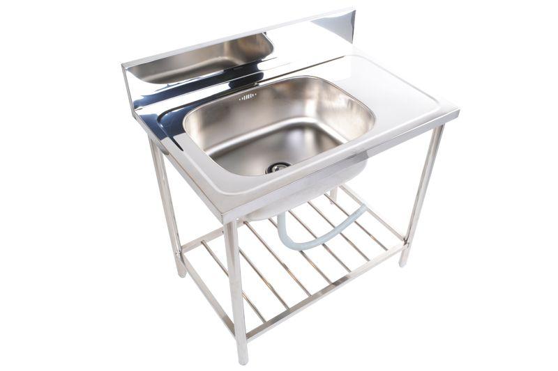 stainless steel commercial restaurant kitchen sink stand 1 bowl st 809 - Kitchen Sink Stands